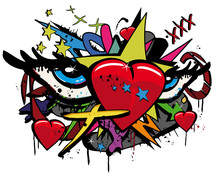 Pop Art Love Graffiti Hearts E...