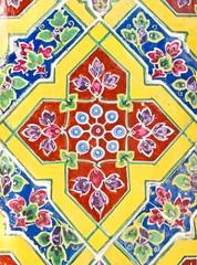 Colorful antique artwork with ceramic