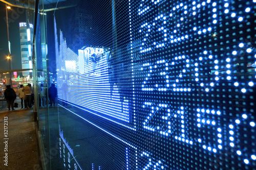 Fotografía  Stock ticker board at the stock exchange