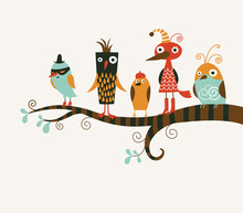 Five Funny Birds