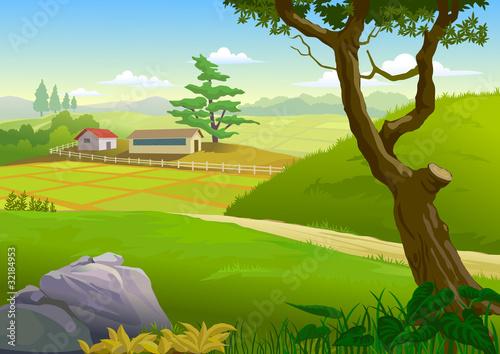 Spoed Foto op Canvas Boerderij SCENIC GREEN FIELDS , PATHWAY AND VILLAGE HOUSES
