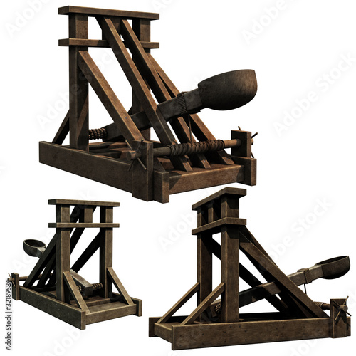 Carta da parati Siege Engine, 3d renders of a medieval catapult