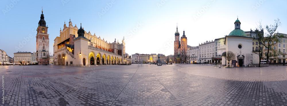 Obraz City square in Kraków, Poland fototapeta, plakat