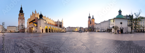 Fototapeta City square in Kraków, Poland obraz