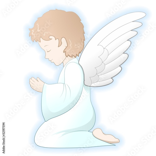 Door stickers Draw Prima Comunione Angelo-First Communion Angel-Vector
