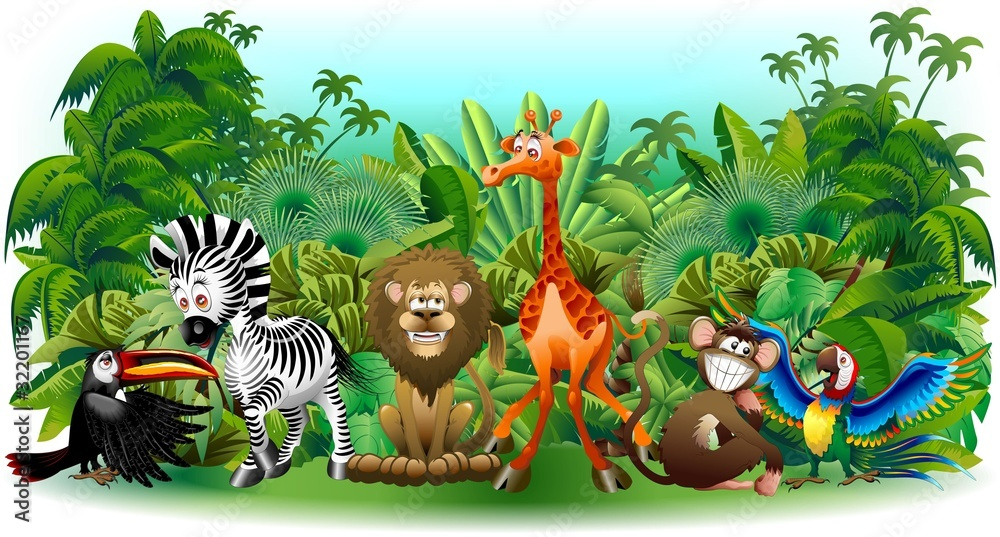 Fototapety, obrazy: Animali Selvaggi Cartoon Giungla-Wild Animals Background-Vector