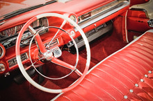 Classic Car Interior With Red ...