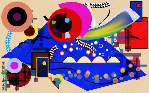 Fényképezés Vettoriale astratto - libero tributo a Kandinsky