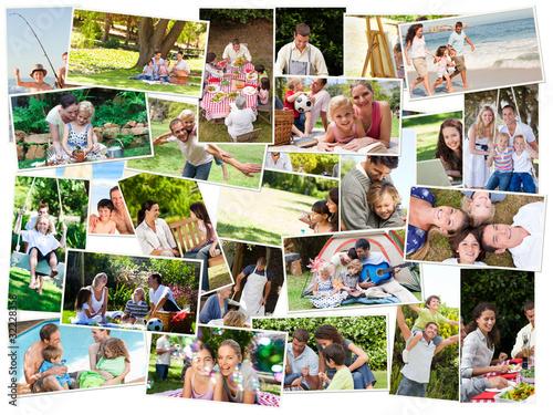 Fotografie, Obraz  Collage of cute families having fun