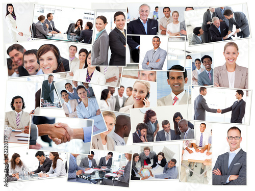 Fotografie, Obraz  Collage of business people working