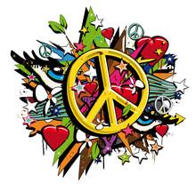 Graffiti Peace And Love Symbol...