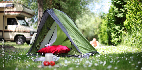 Printed kitchen splashbacks Camping Campingurlaub