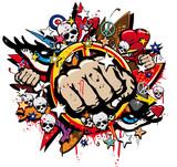 Graffiti Fist Freefight club symbol pop art