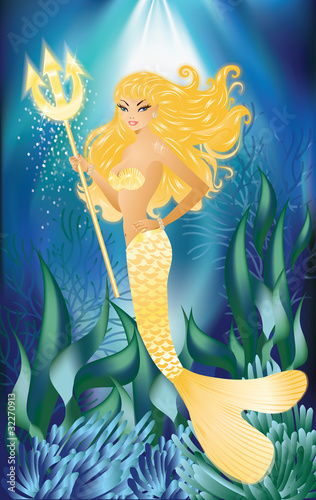 Foto op Plexiglas Zeemeermin Gold Mermaid with trident, vector illustration