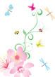 vector flower corner with butterflies