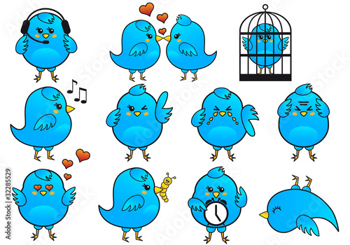 Poster Birds in cages blue bird icon set, vector