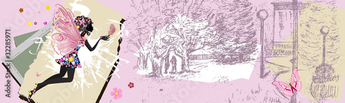 Fototapety, obrazy: urban vintage grunge banner with a fairy