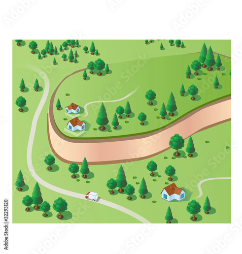 Poster de jardin Route Scene