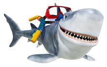 Shark Cartoon On Mask Dive