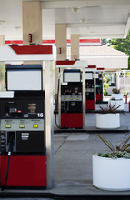 Four Gas Pump Islands At Station No Cars