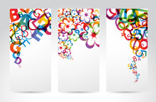 Banners With Colorful Rainbow Elements