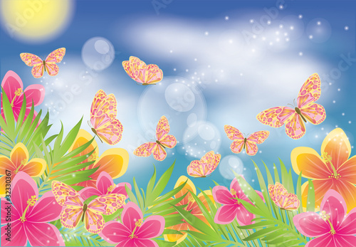 Tuinposter Vlinders Summer background with butterfly, vector illustration