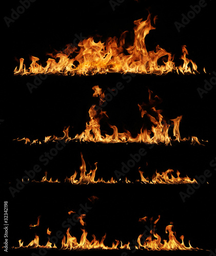 Tuinposter Vuur High resolution fire collection, isolated on black background