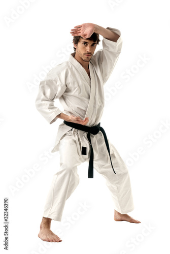 Foto-Rollo - Karate male fighter young isolated on white background (von dgmata)