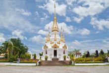 Golden Pagoda And Blue Sky In Wat Tham Khuha Sawan,Ubonratchatha