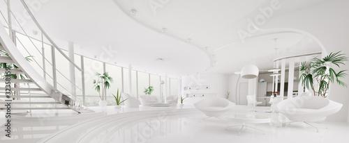 Obraz na plátně  Modern weiss apartment interior panorama 3d render