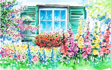 Fototapeta Wiejski Window into the garden
