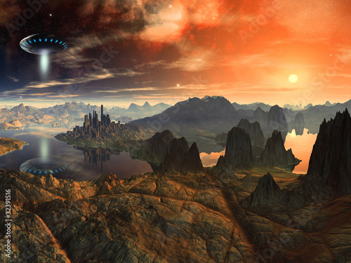 Cuadros en Lienzo Flying Saucer Ship over Alien Landscape