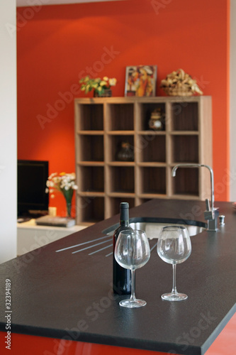 cuisine moderne rouge et noir # 23 - Buy this stock photo ...