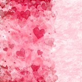 Elegant background with transparent pink and red hearts