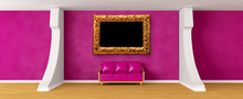 Gallery's Hall With Purple Couch