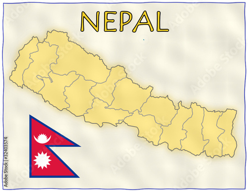 Nepal political division national emblem flag map - Buy this stock ...