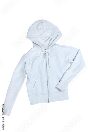 Fototapeten womenART blue female sport sweatshirt with hood isolated