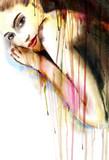 Piękna kobieta, malarstwo akwarela - 32430515