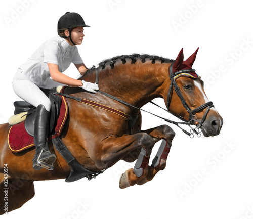 Poster Equitation Young girl jumping with bay horse