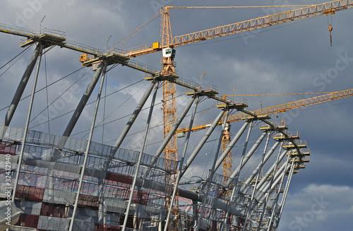 Sports stadium under construction. Warsaw