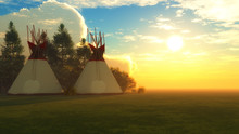 Indian Teepees At Dusk