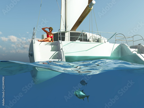 woman relaxing on yacht Poster Mural XXL
