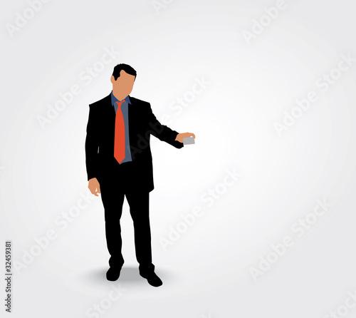 Silhouette Dun Homme Montrant Sa Carte De Visite