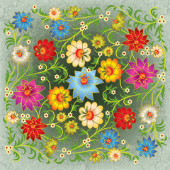 abstract grunge floral ornament with flowers on cracked backgrou