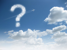 Blue Sky With Cloud Showing Question Mark Text