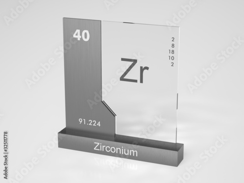 Fotografie, Obraz Zirconium - symbol Zr