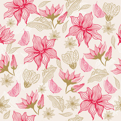 FototapetaSeamless vector texture with flowers