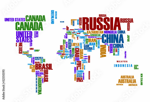 Poster Carte du monde World map:the contours of the country consists of the words