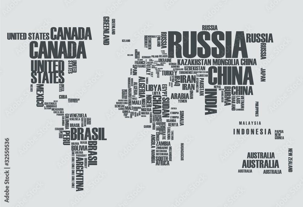 Mapa świata: na konturach kraju składają się słowa