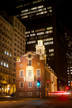 Old State House Amid The Skyscrapers At Night, Boston, USA